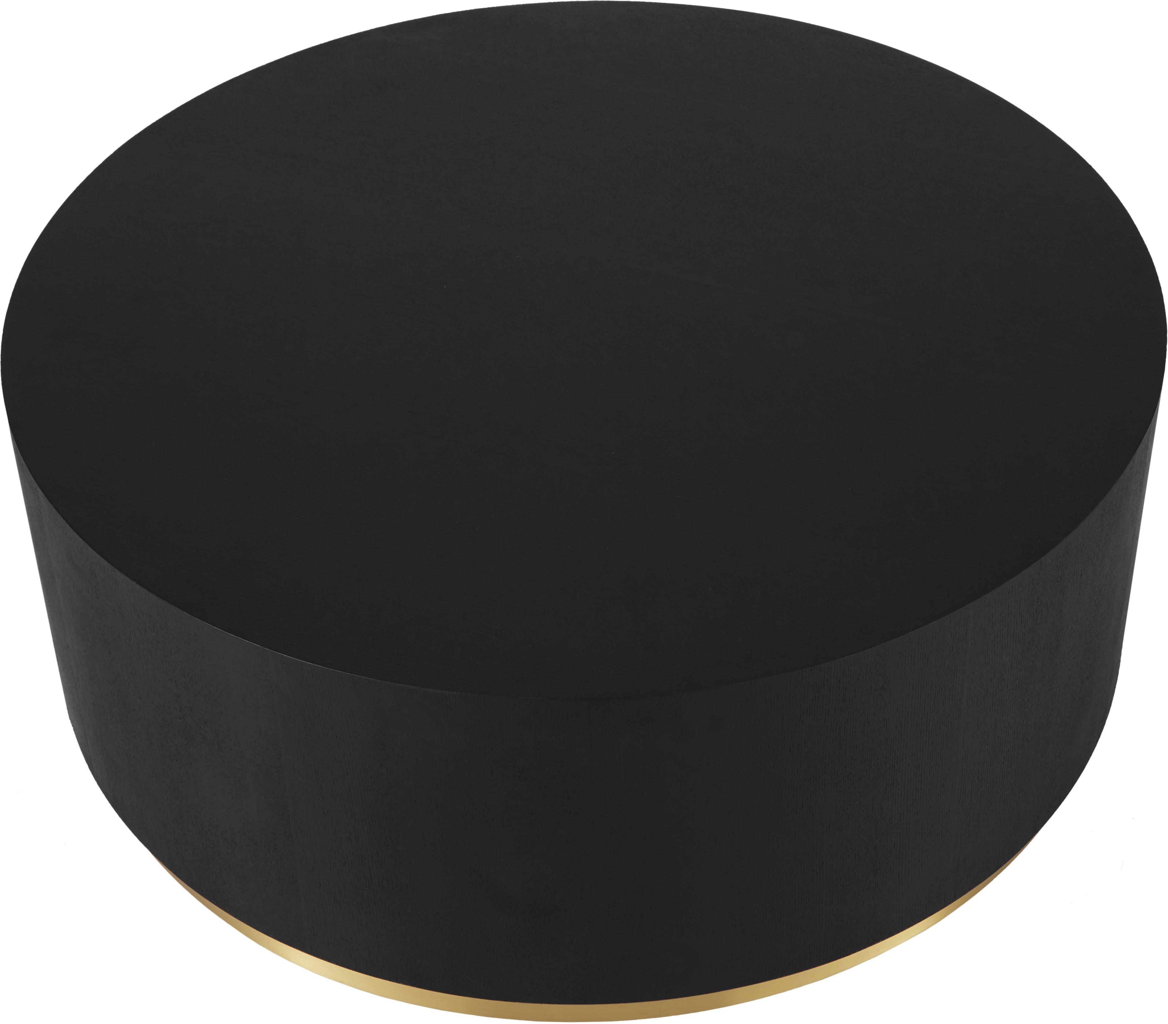 Grosser Couchtisch Clarice in Schwarz, Korpus: Mitteldichte Holzfaserpla, Korpus: Eichenholz, schwarz lackiertFuss: Goldfarben, Ø 90 x H 35 cm