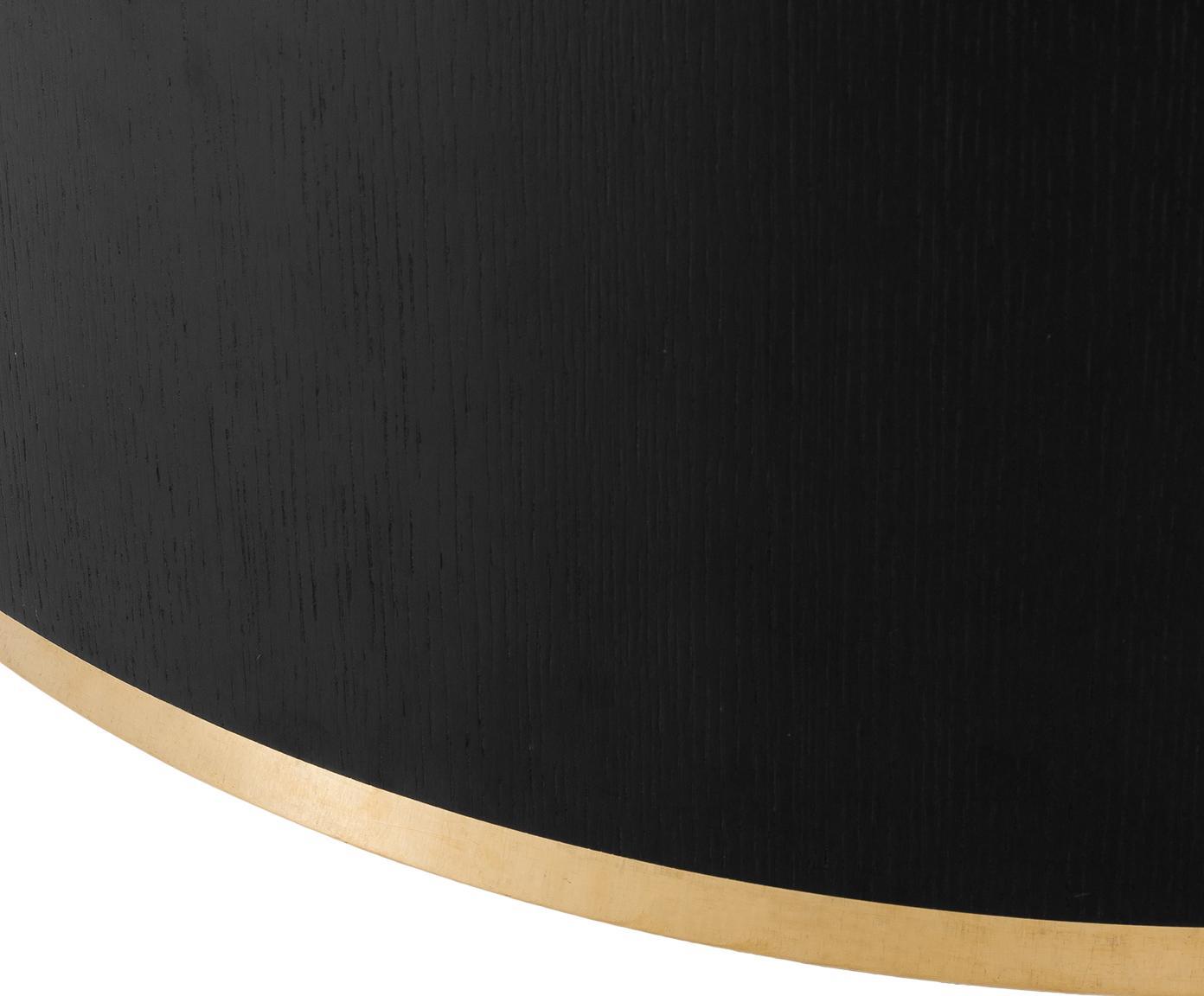 Grote salontafel Clarice in zwart, Frame: MDF met eikenhoutfineer, Voet: gecoat metaal, Frame: zwart gelakt eikenhout. Voet: goudkleurig, Ø 100 x H 36 cm