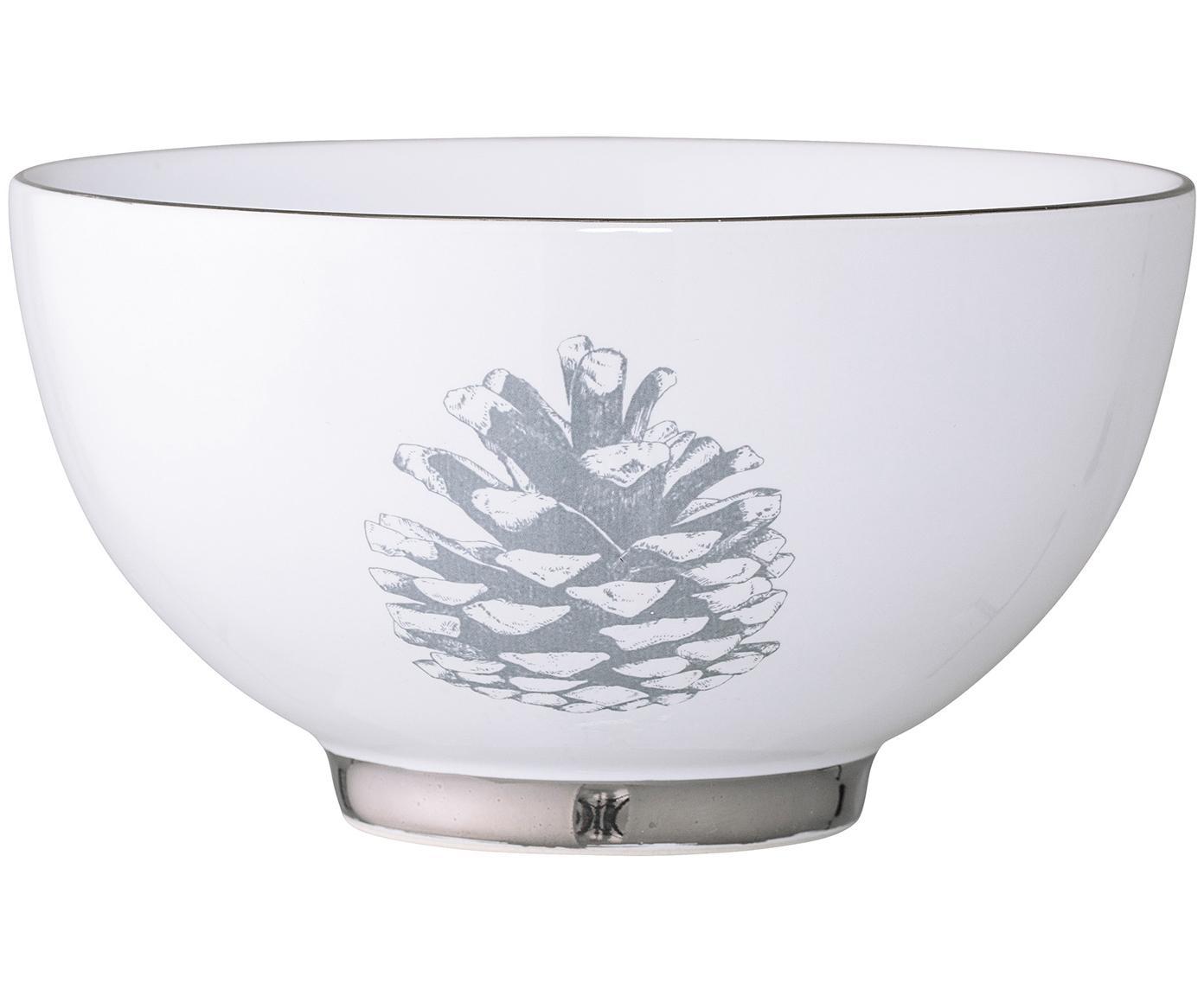 Schälchen Frost mit winterlichem Motiv, 2 Stück, Steingut, Weiß, Silberfarben, Hellgrau, Ø 14 x H 8 cm