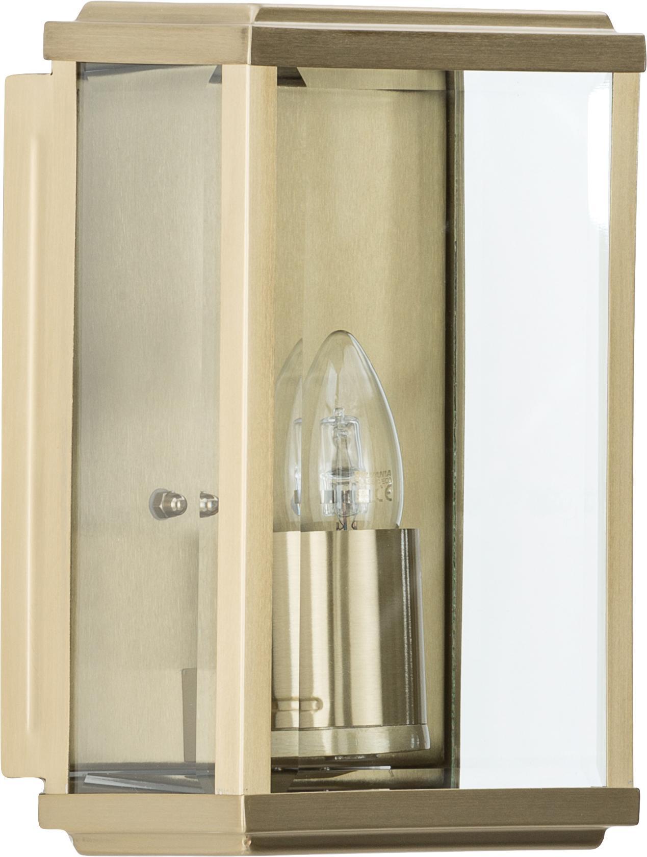 Aplique de exteriorWally, Acero inoxidable, latón con ventana de vidrio, Latón, patinado, transparente, An 16 x Al 25 cm