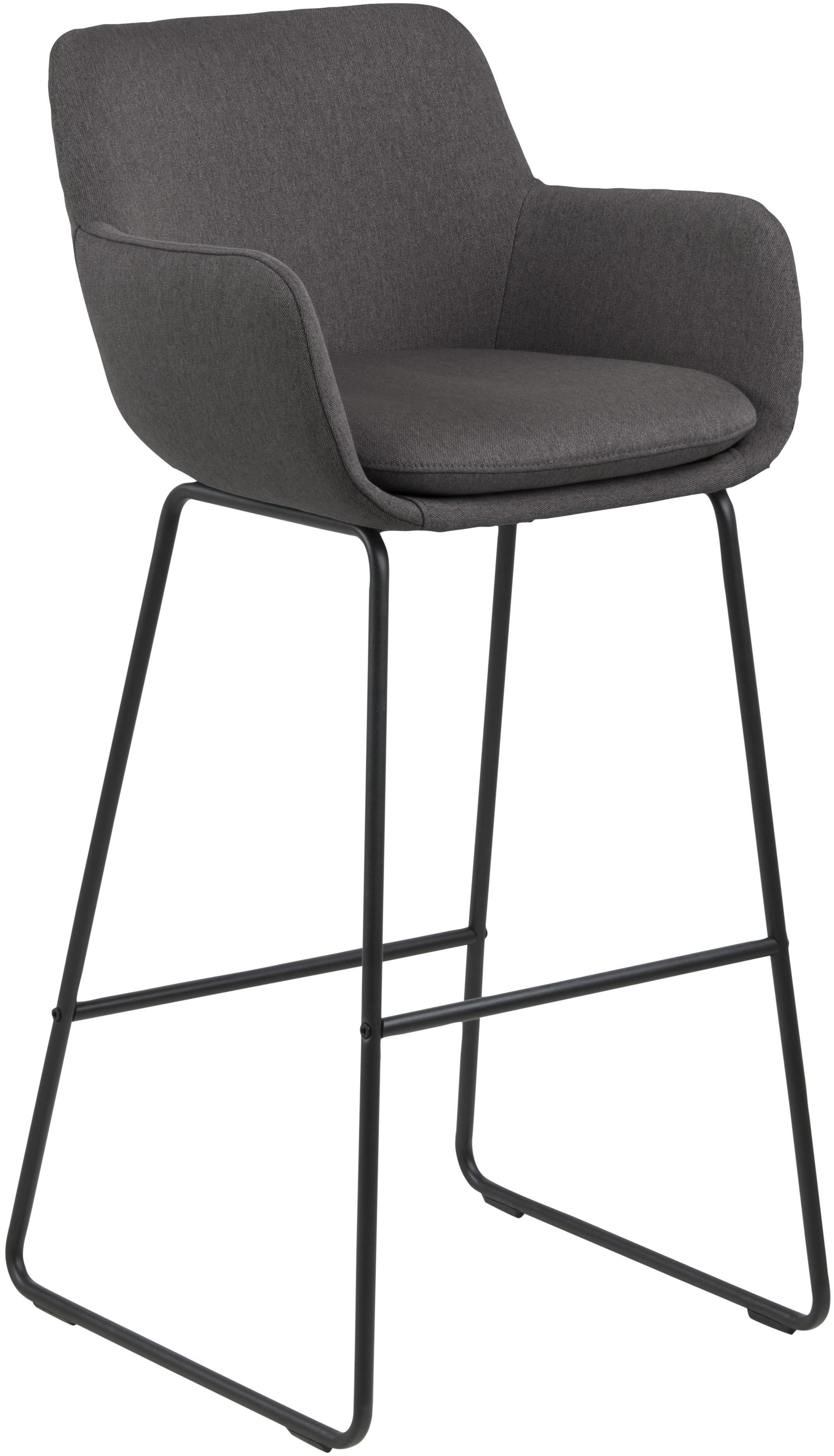 Krzesło barowe Lisa, 2 szt., Tapicerka: poliester, Stelaż: metal malowany proszkowo, Ciemnyszary, czarny, S 52 x W 100 cm