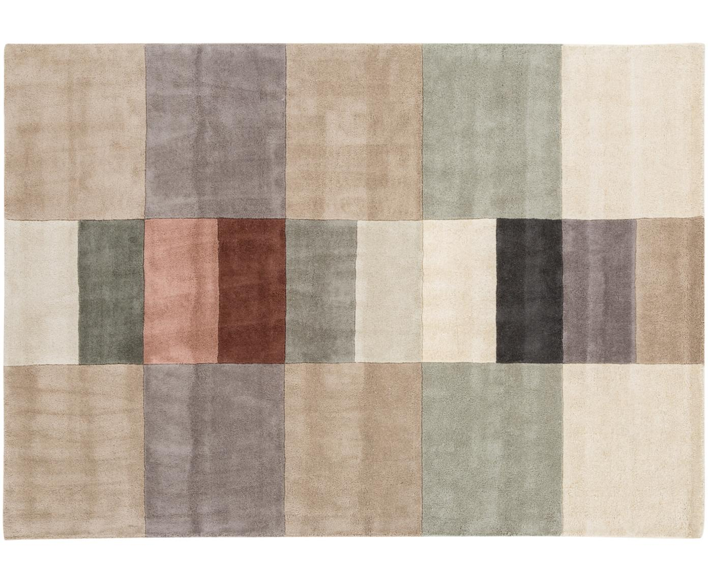 Handgetufteter Designteppich Impilati aus Wolle, Flor: 100% Wolle, Creme, Mehrfarbig, B 170 x L 240 cm (Größe M)