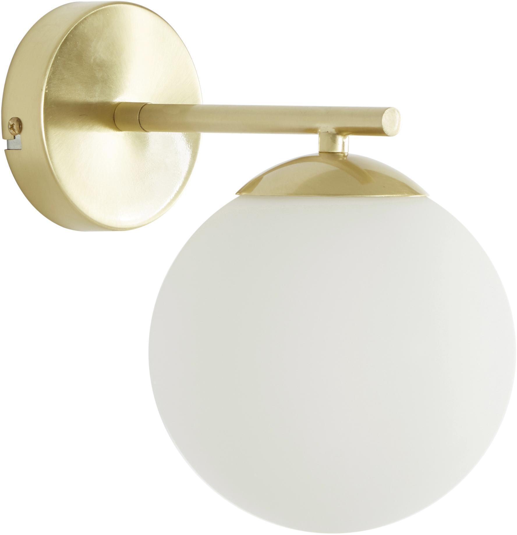 Applique Liv, Paralume: vetro, Bianco, ottone, Larg. 15 x Alt. 22 cm