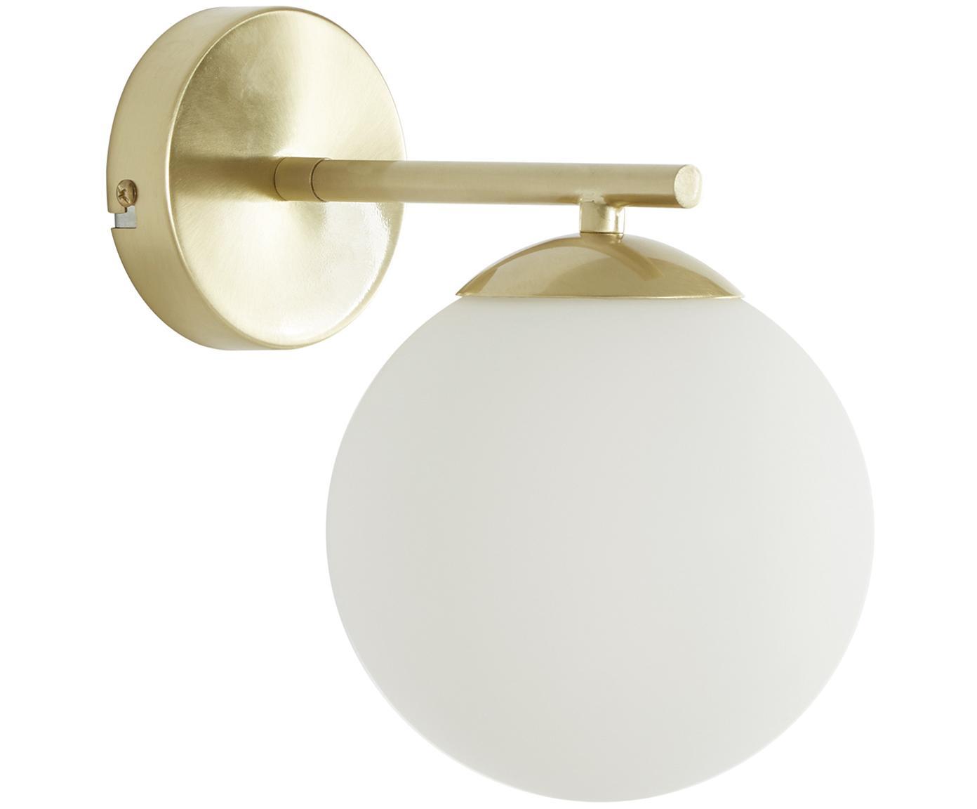 Wandlamp Liv, Lampenkap: glas, Wit, messingkleurig, 15 x 22 cm