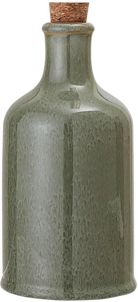 Handgefertigte Essig- und Öl-Karaffe Pixie, luftdicht, Flasche: Steingut, Verschluss: Korken, Grüntöne, Ø 10 x H 19 cm