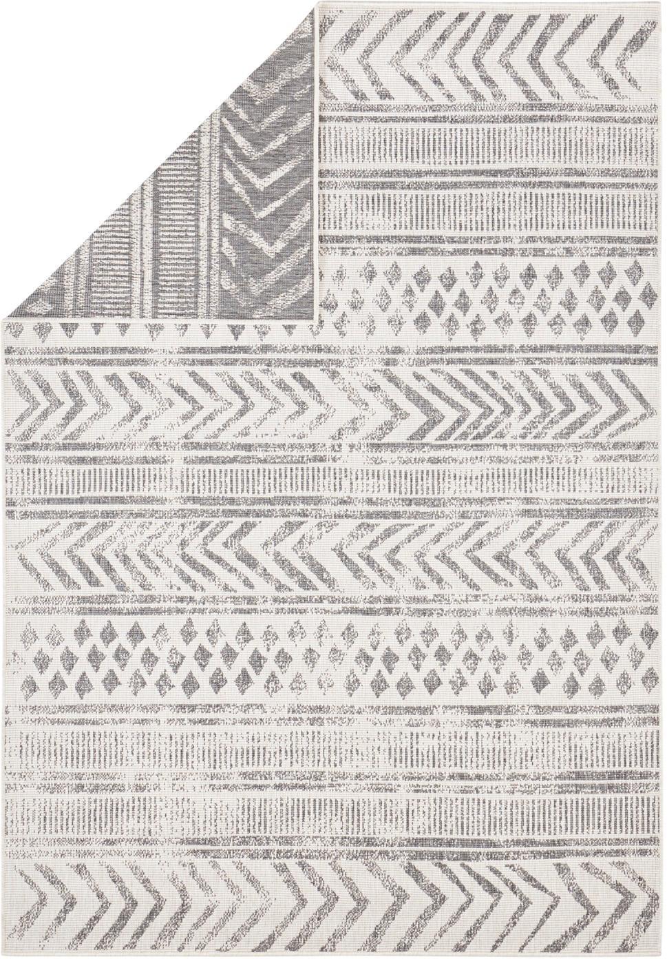 Dubbelzijdig in- en outdoor vloerkleed Biri met grafisch patroon, Polypropyleen, Grijs, crèmekleurig, B 80 x L 150 cm (maat XS)