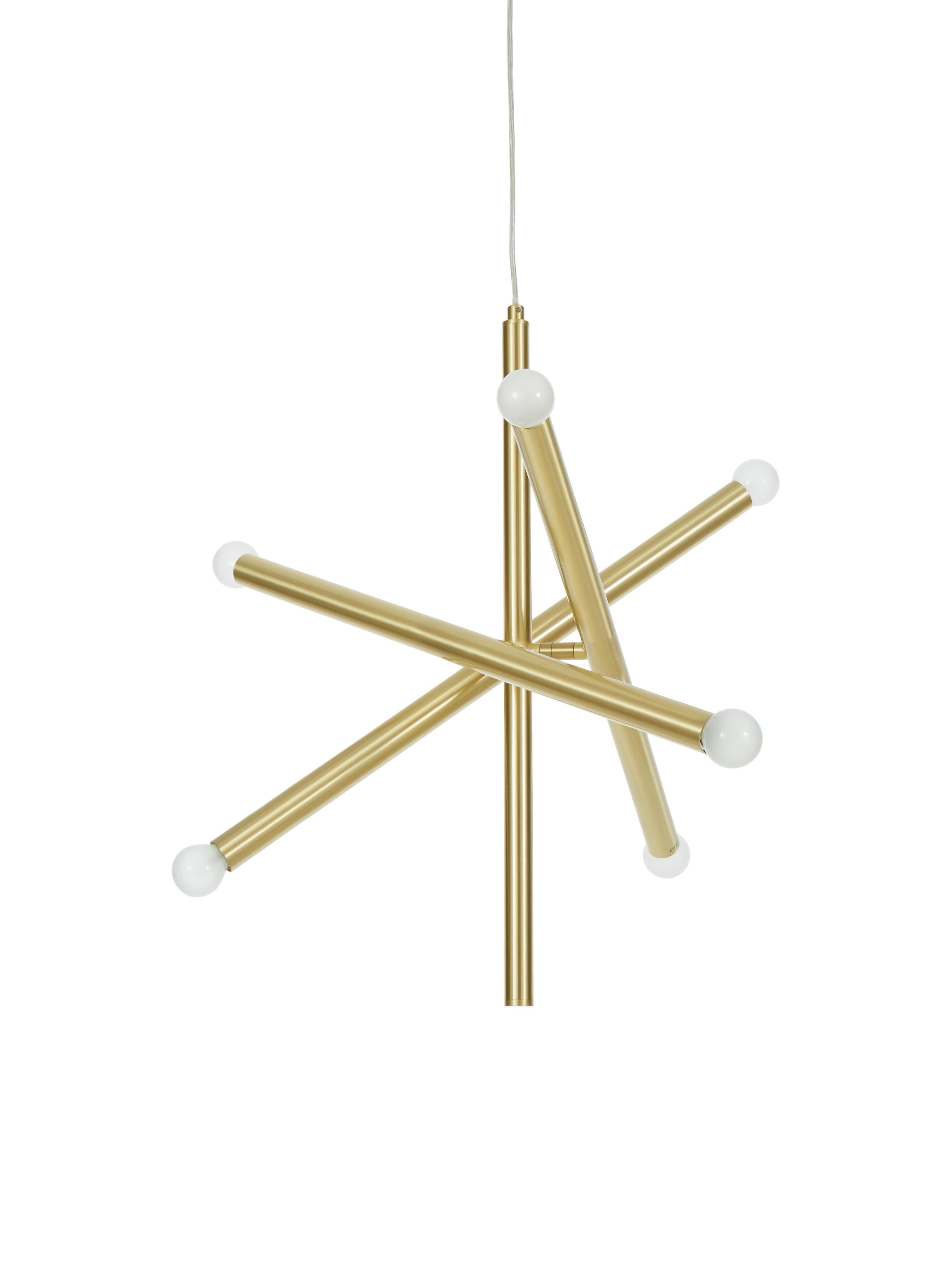 Lampada a sospensione Sticks, Baldacchino: metallo spazzolato, Ottonato, Larg. 60 cm