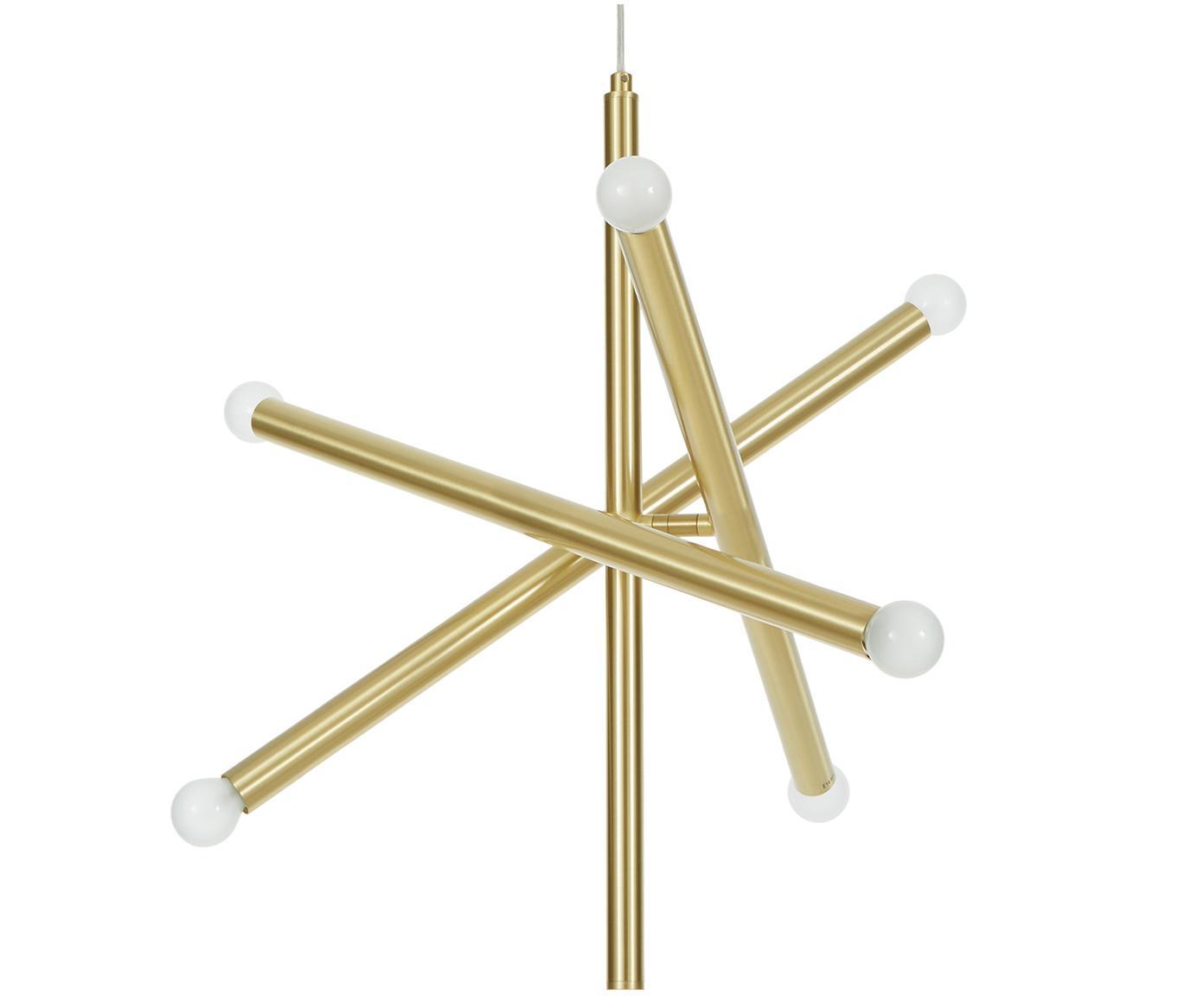 Lámpara colgante Sticks, Anclaje: metal cepillado, Cable: plástico, Latón, An 60 x Al 100 cm