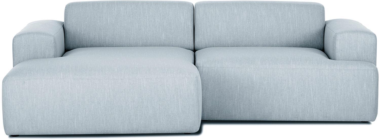 Hoekbank Melva (3-zits), Bekleding: polyester, Frame: massief grenenhout, spaan, Poten: grenenhout, Geweven stof blauwgrijs, B 240 x D 144 cm