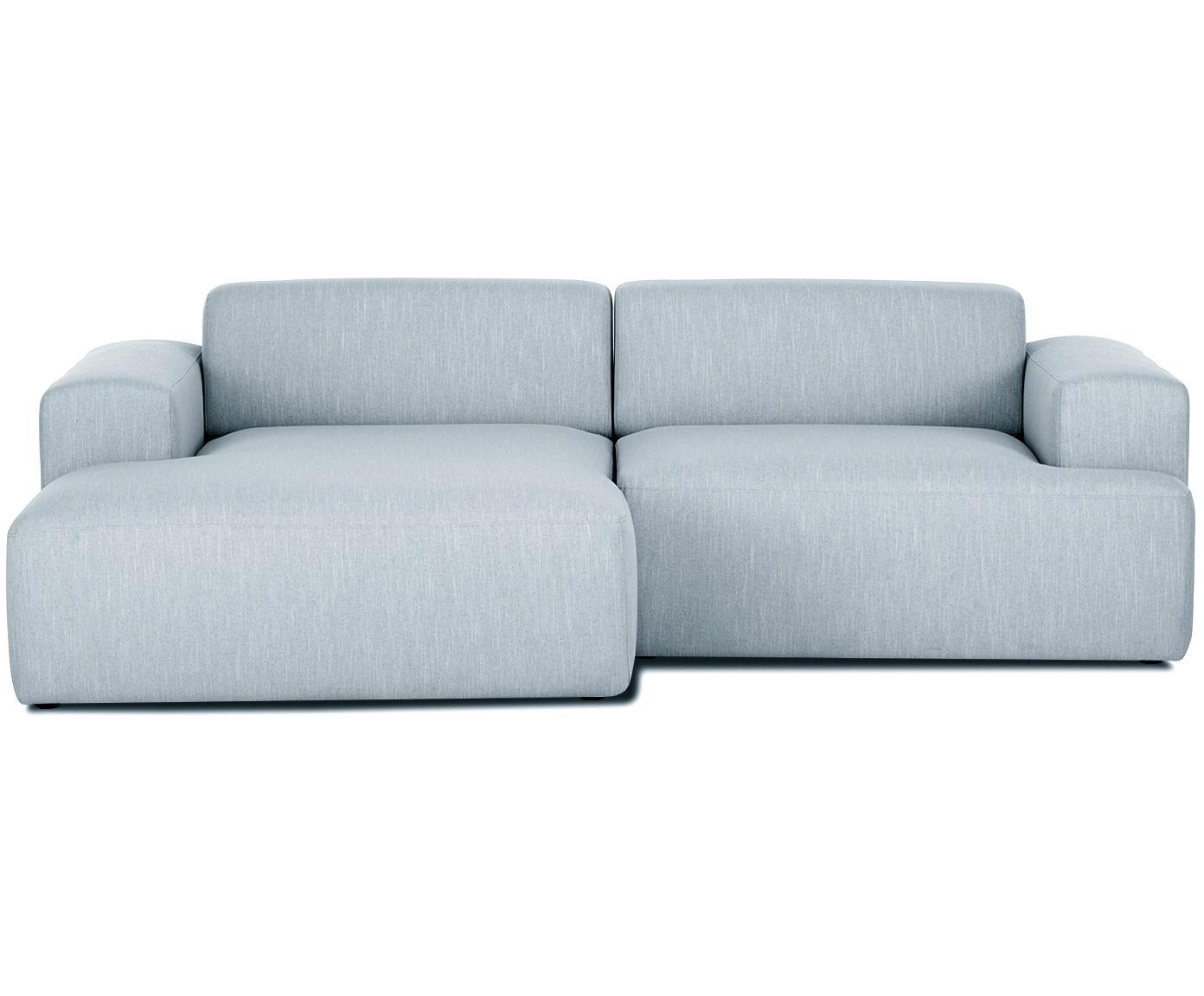 Ecksofa Melva (3-Sitzer), Bezug: Polyester 35.000 Scheuert, Gestell: Massives Kiefernholz, Spa, Füße: Kiefernholz, Webstoff Blaugrau, B 240 x T 144 cm