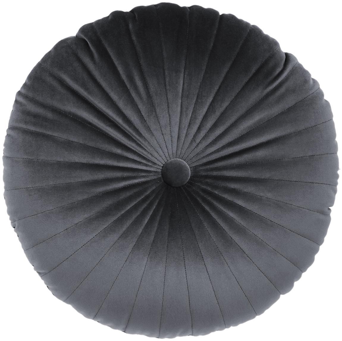 Cuscino in velluto lucido con imbottitura Monet, Rivestimento: 100% velluto di poliester, Grigio scuro, Ø 40 cm
