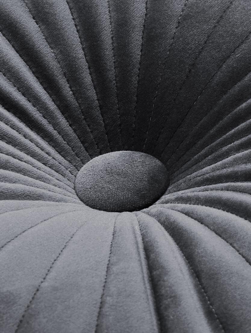 Lesklý kulatý sametový polštář Monet, svýplní, Tmavě šedá