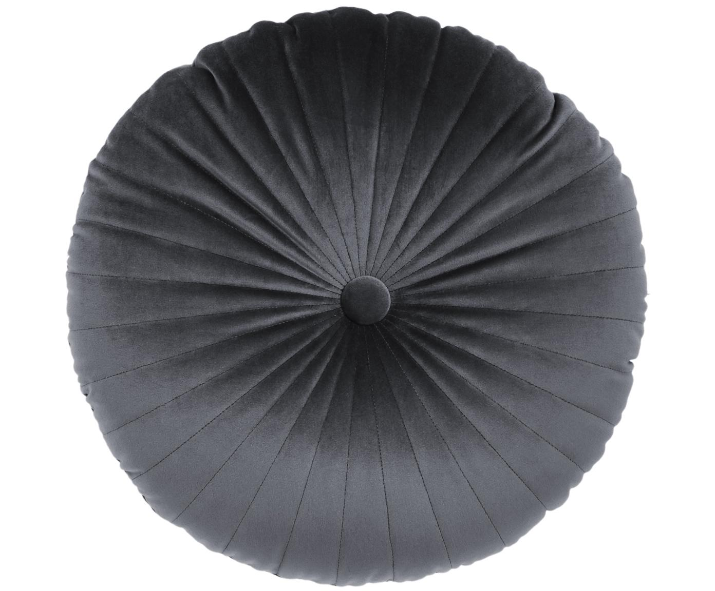 Cojín redondo de terciopelo brillante Monet, con relleno, Tapizado: 100%terciopelo de poliés, Gris oscuro, Ø 40 cm
