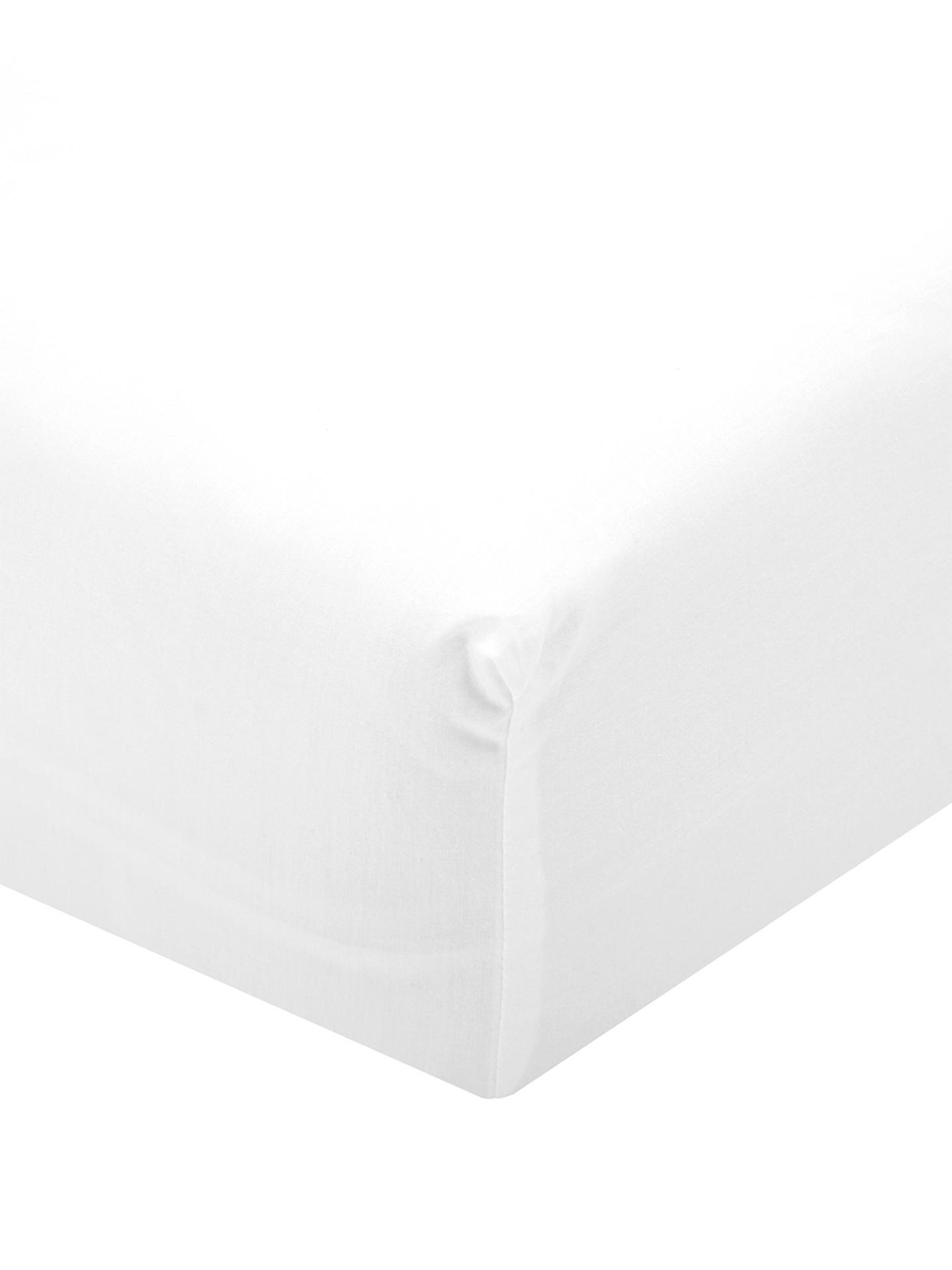 Sábana bajera de percal Elsie, Blanco, Cama 180 cm (180 x 200 cm)