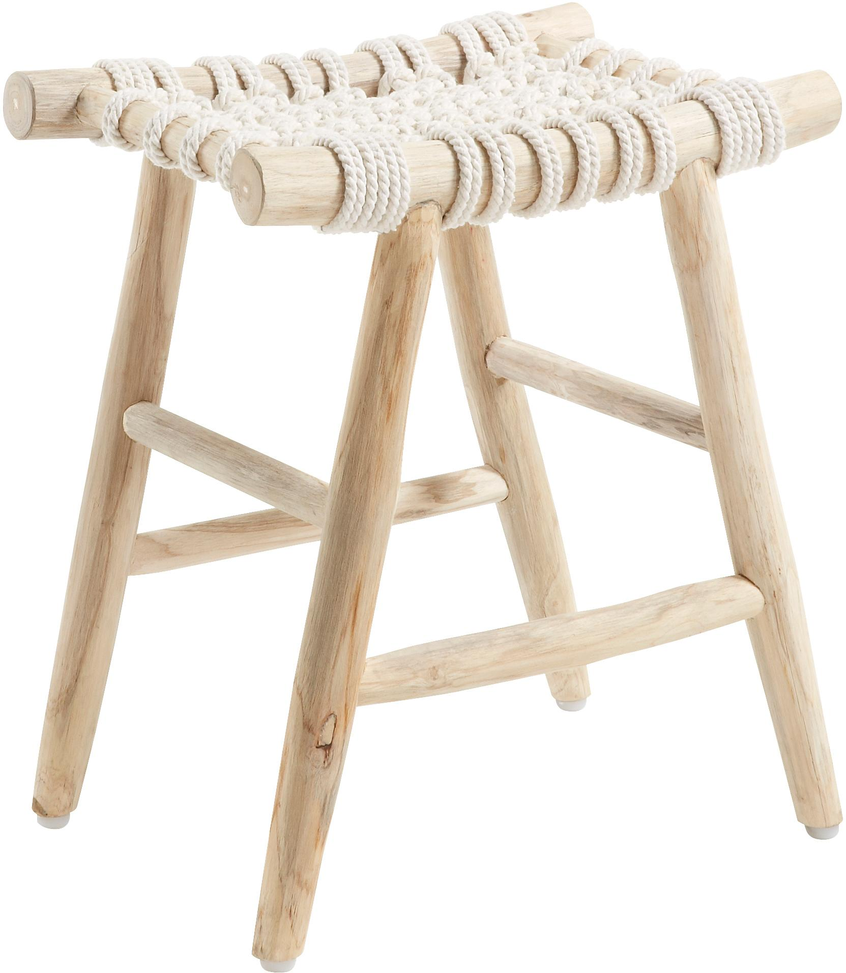Kruk Edgard in boho stijl, Poten: teakhout, natuurlijk, Zitvlak: katoenen touw, Teakhoutkleurig, wit, B 45 cm