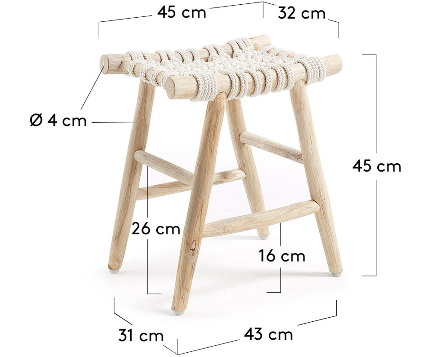 Hocker Edgard im Boho Style, Beine: Teakholz, naturbelassen, Sitzfläche: Baumwollseilgurt, Teakholz, Weiß, 45 x 45 cm