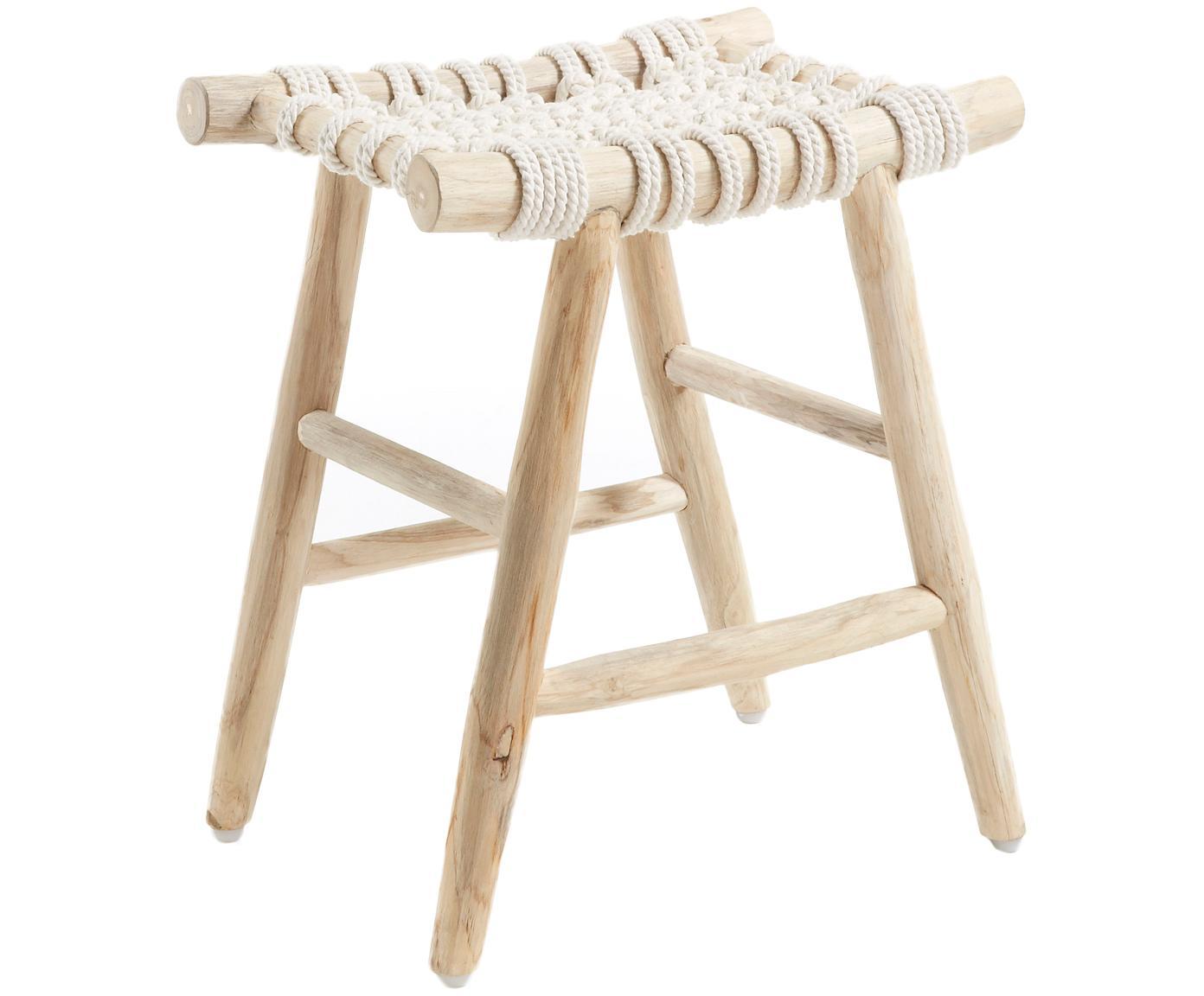 Hocker Edgard im Boho Style, Beine: Teakholz, naturbelassen, Sitzfläche: Baumwollseilgurt, Teakholz, Weiss, 45 x 45 cm