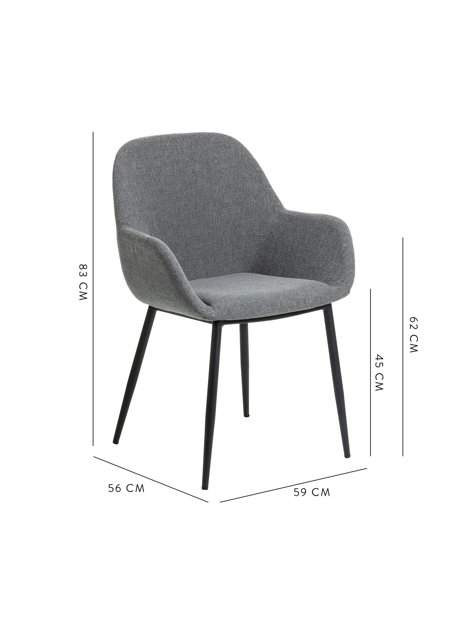 Armlehnstühle Kona, 2 Stück, Bezug: Polyester Der hochwertige, Beine: Metall, lackiert, Webstoff Grau, B 59 x T 56 cm