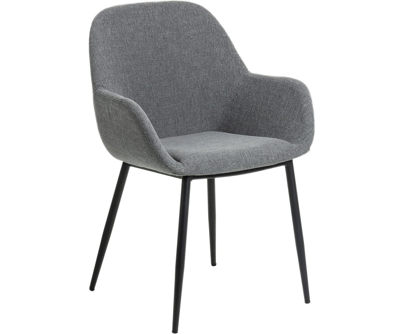 Krzesło z podłokietnikami Kona, 2szt., Tapicerka: tkanina 50000 cykli w te, Stelaż: metal powlekany, Szary, czarny, S 59 x G 52 cm