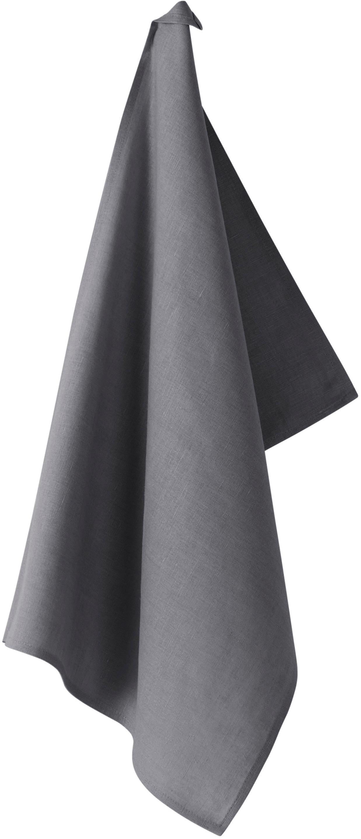 Strofinaccio in lino Hermia, 57% lino, 43% cotone, Grigio scuro, Larg. 50 x Lung. 70 cm