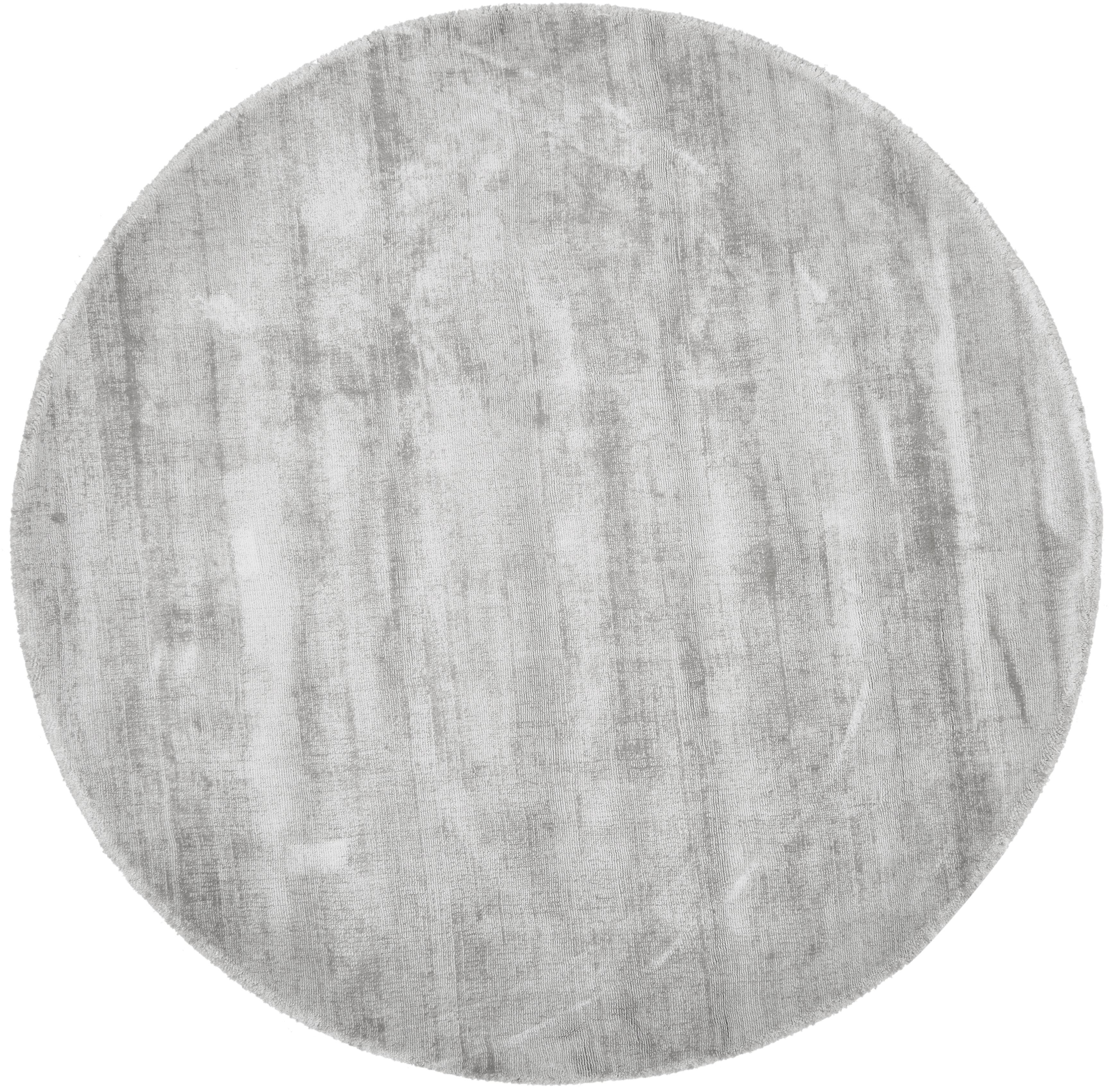 Rond handgeweven viscose vloerkleed Jane in lichtgrijs-beige, Bovenzijde: 100% viscose, Onderzijde: 100% katoen, Lichtgrijs-beige, Ø 120 cm