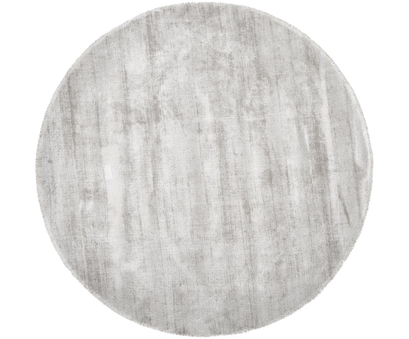 Handgeweven viscose vloerkleed Jane, Bovenzijde: 100% viscose, Onderzijde: 100% katoen, Lichtgrijs-beige, Ø 120 cm