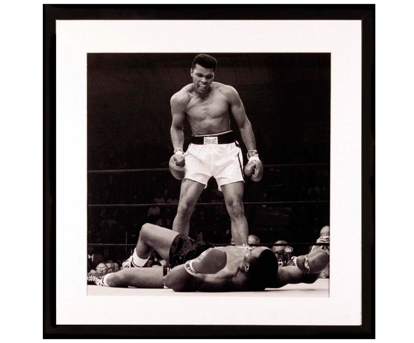 Impresión digital enmarcada Moh.Ali, Ilustración: negro, blanco Marco: negro, An 40 x Al 40 cm