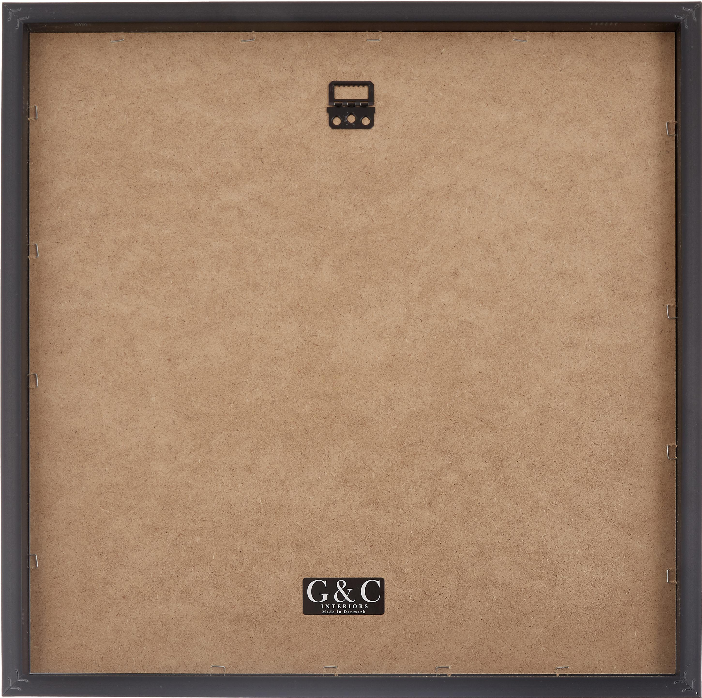 Gerahmter Digitaldruck Moh.Ali, Bild: Digitaldruck, Rahmen: Kunststoff, Front: Glas, Bild: Schwarz, Weiß<br>Rahmen: Schwarz, 40 x 40 cm