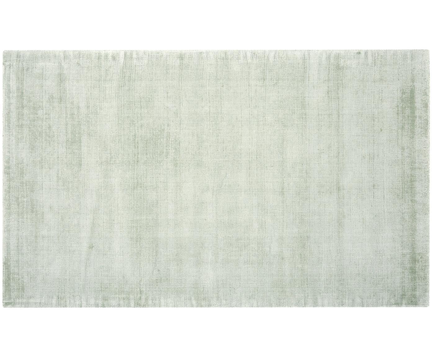 Alfombra artesanal de viscosa Jane, Parte superior: 100%viscosa, Reverso: 100%algodón, Verde menta, An 90 x L 150 cm (Tamaño XS)