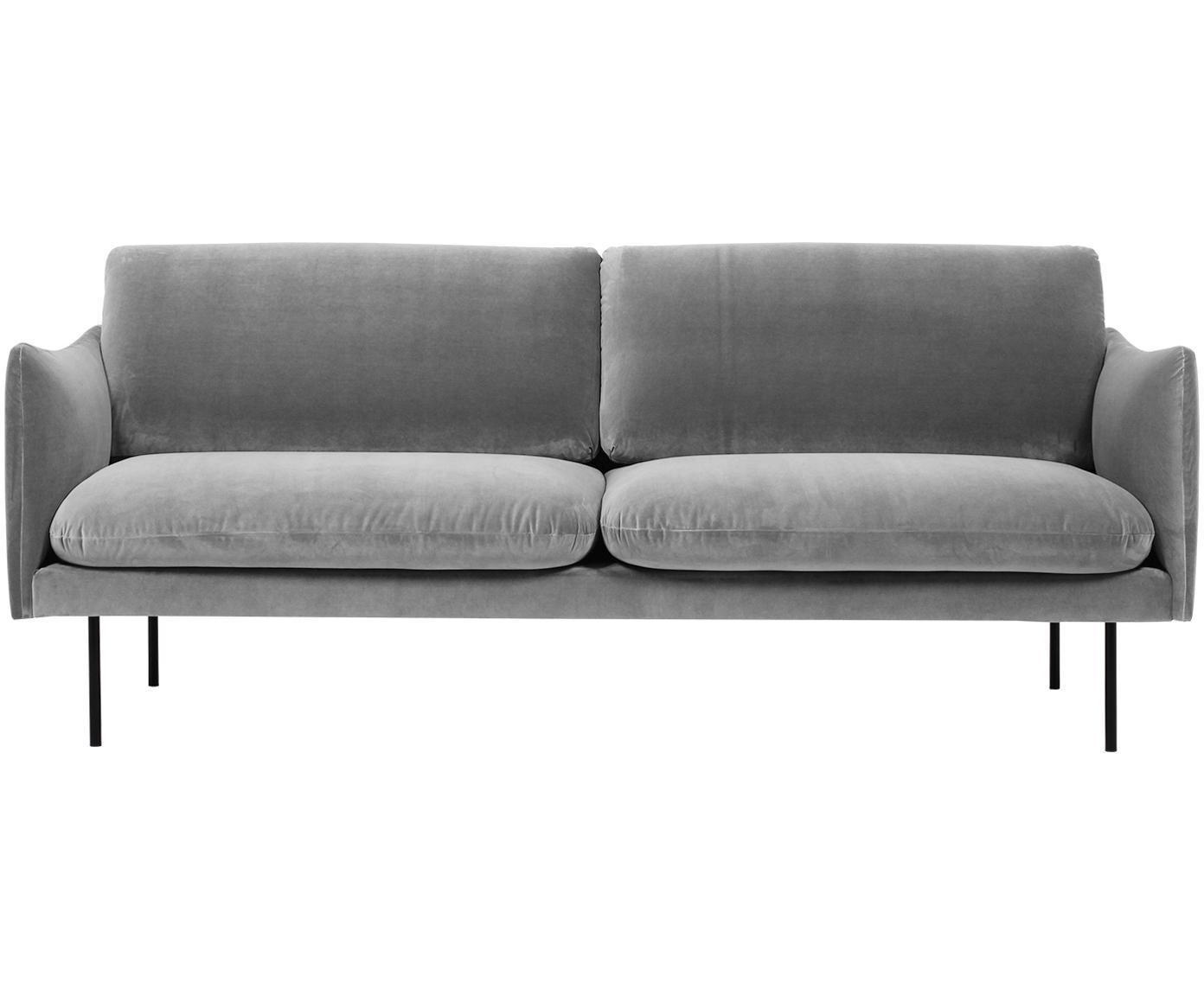 Sofá de terciopelo Moby (2plazas), Tapizado: terciopelo (poliéster de , Estructura: madera de pino macizo, Patas: metal, pintura en polvo, Gris, An 170 x F 95 cm