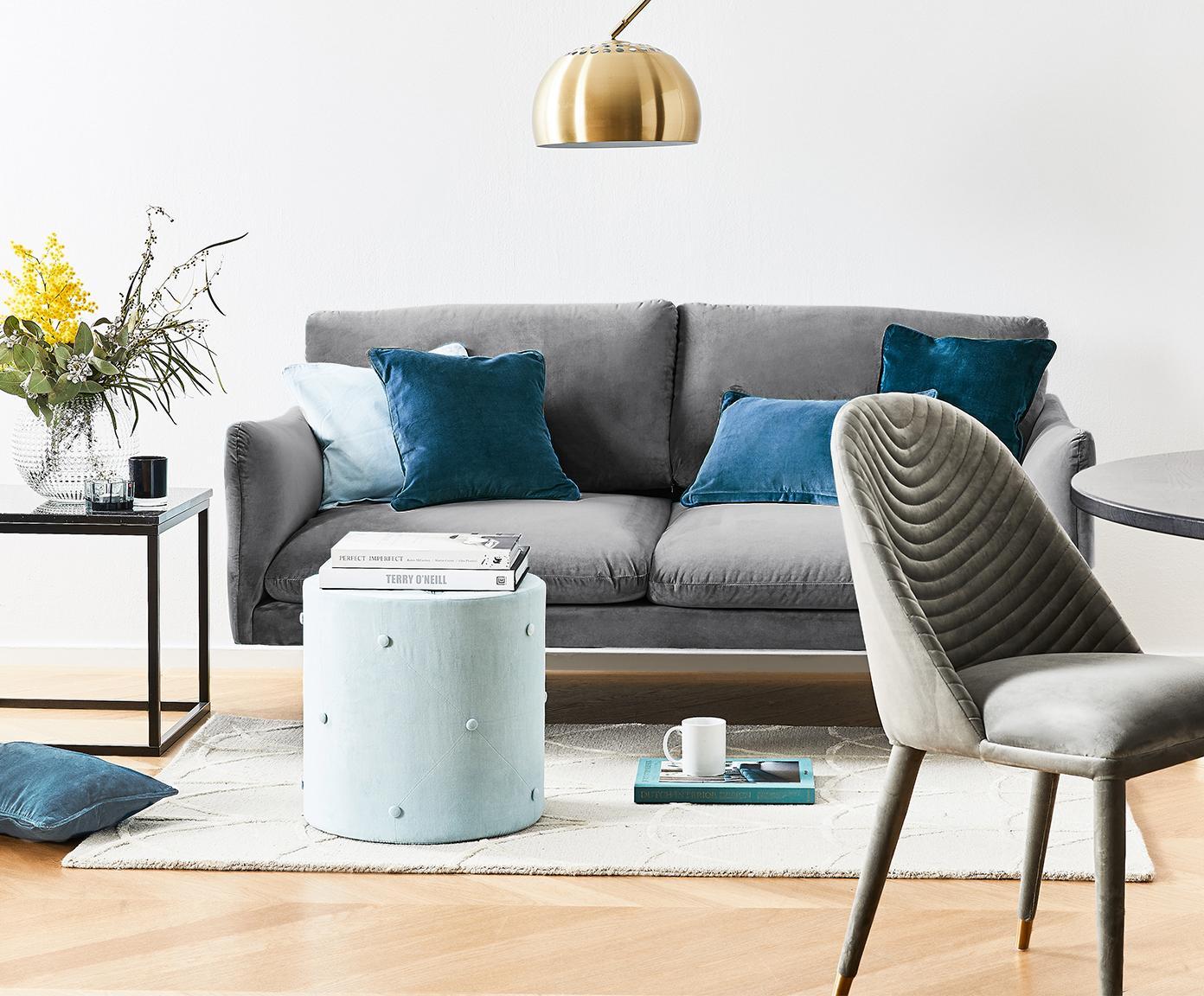 Sofa z aksamitu Moby (2-osobowa), Tapicerka: aksamit (wysokiej jakości, Stelaż: lite drewno sosnowe, Nogi: metal malowany proszkowo, Szary, S 170 x G 95 cm