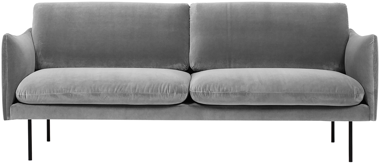 Fluwelen bank Moby (2-zits), Bekleding: fluweel (hoogwaardige pol, Frame: massief grenenhout, Poten: gepoedercoat metaal, Grijs, B 170 x D 95 cm