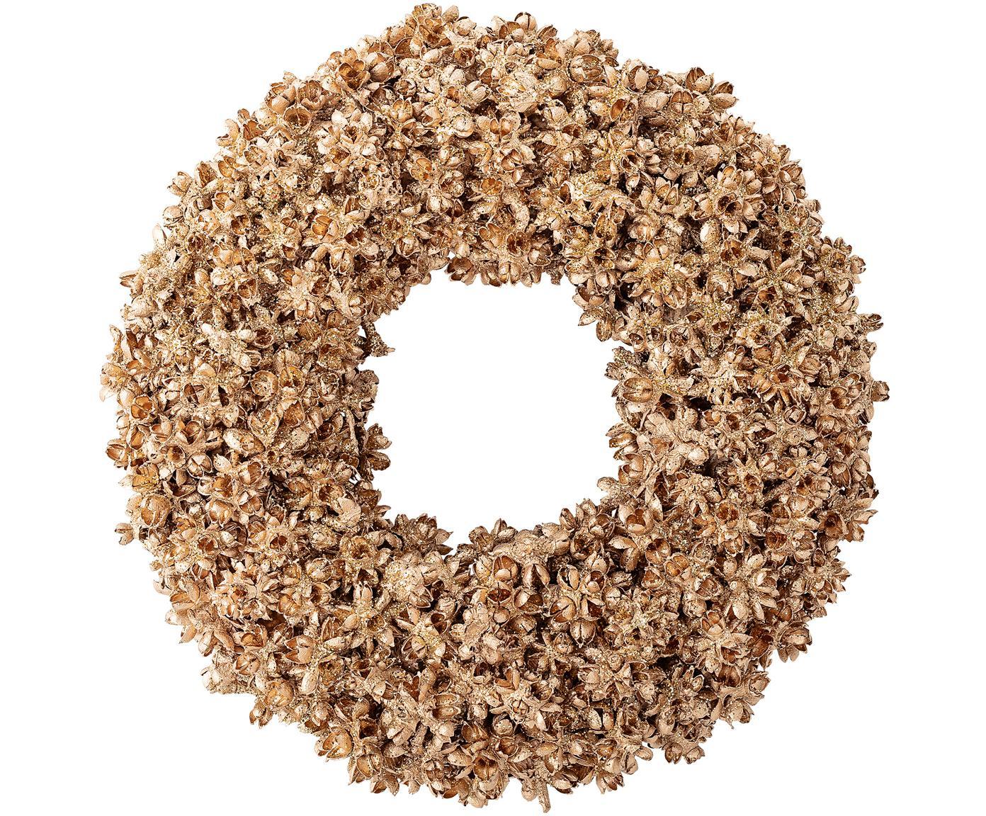 Decoratieve krans Pinecone, Gecoat hout, schuimstof, Goudkleurig, Ø 20 cm