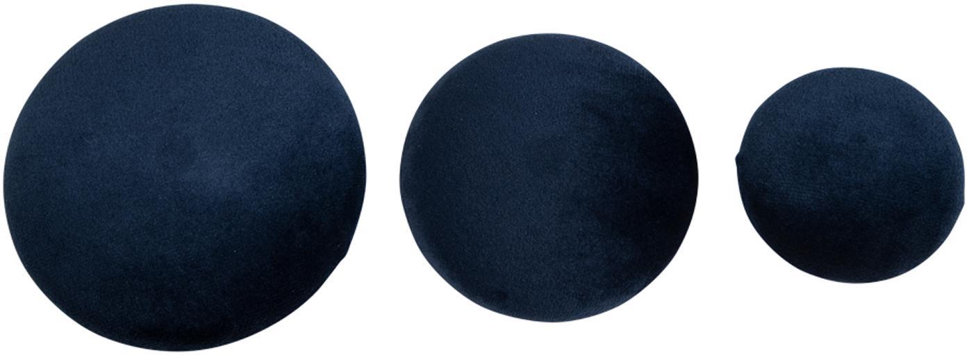 Set 3 ganci in velluto Giza, Blu scuro, ottone, Set in varie misure