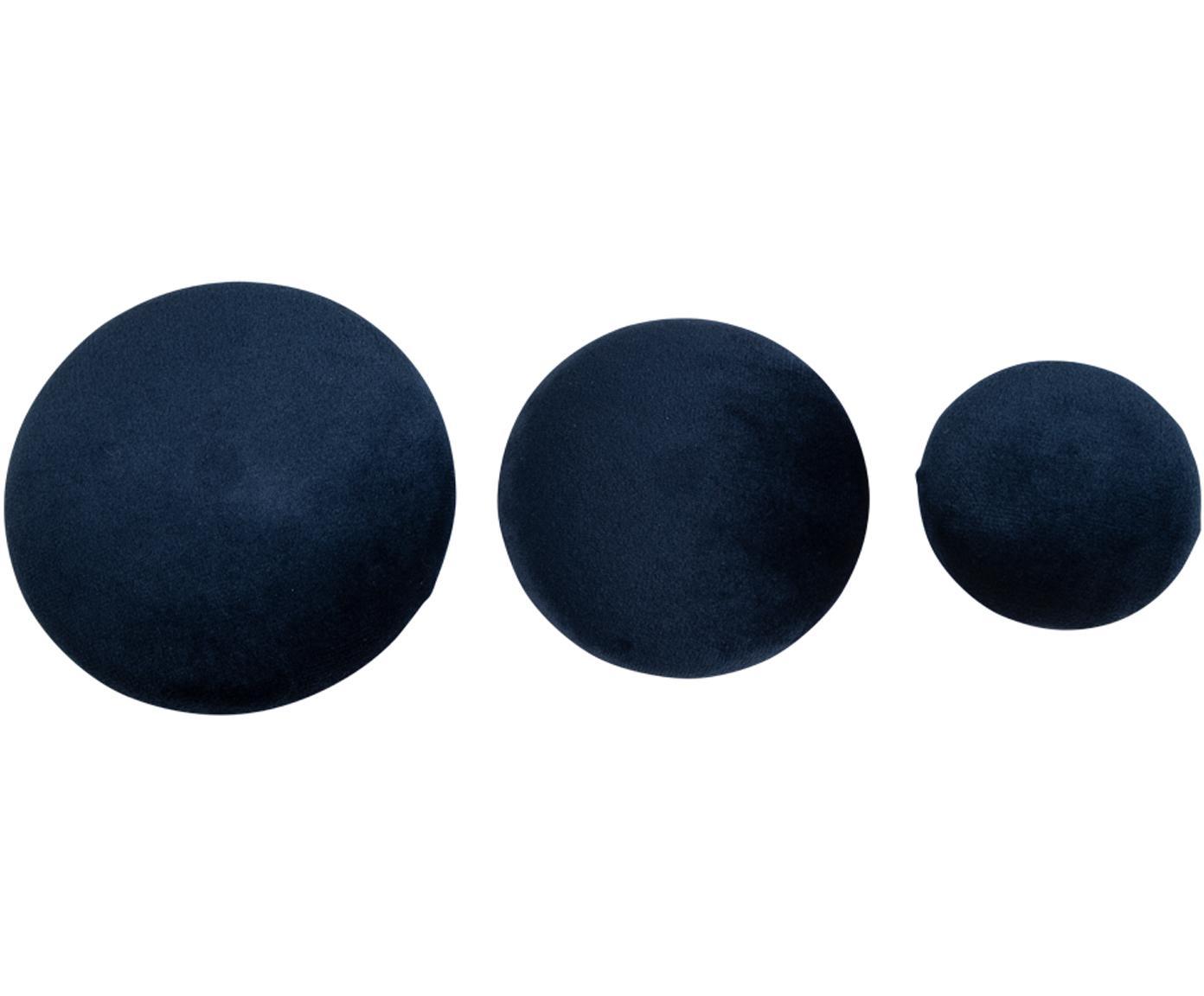 Set 3 ganci in velluto Giza, Velluto, metallo, Blu scuro, ottone, Diverse dimensioni
