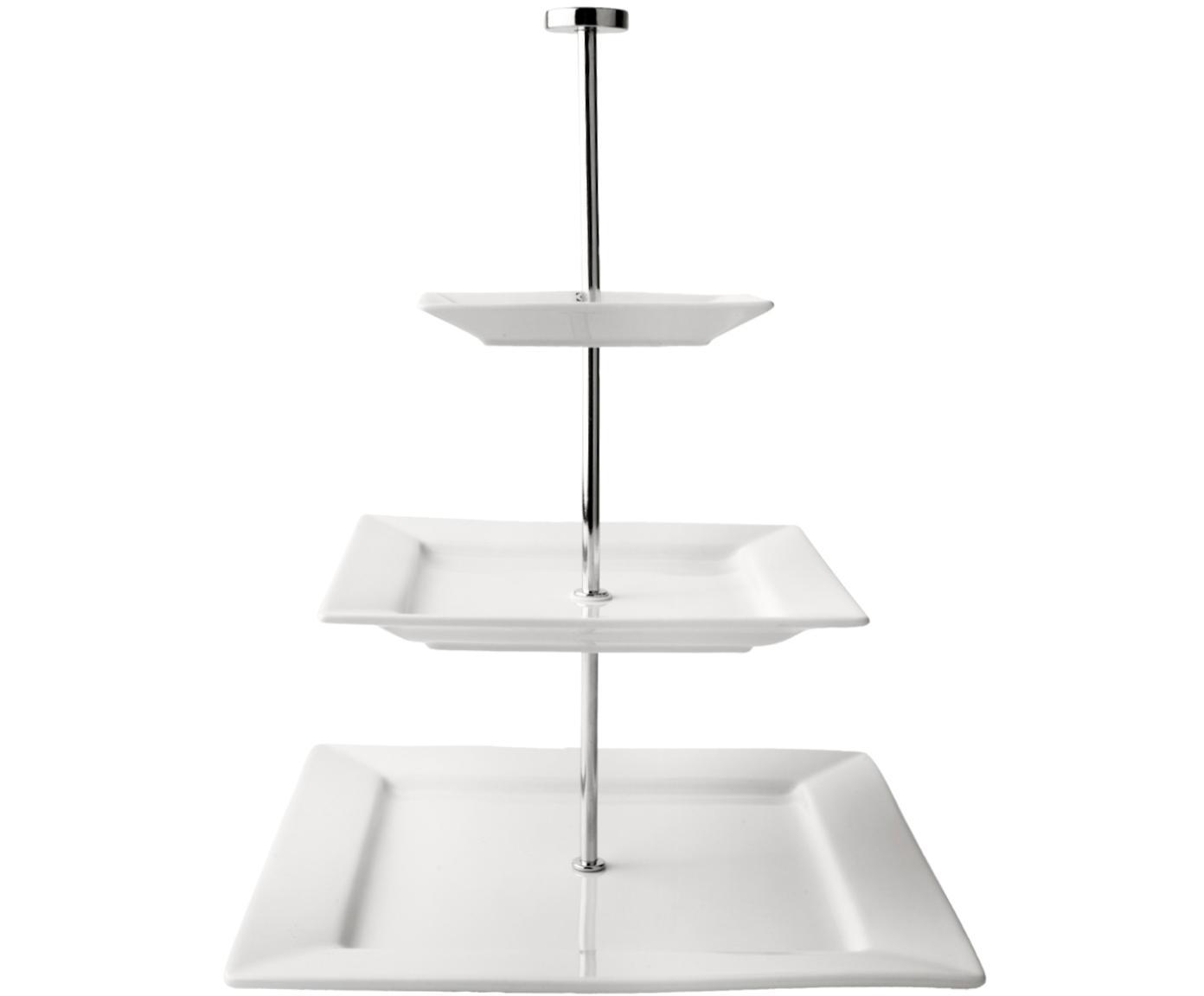 Etagere Squared, Ablagefläche: Porzellan, Stange: Zinklegierung, Teller: Weiß<br>Ständer: Zinklegierung, 26 x 35 cm