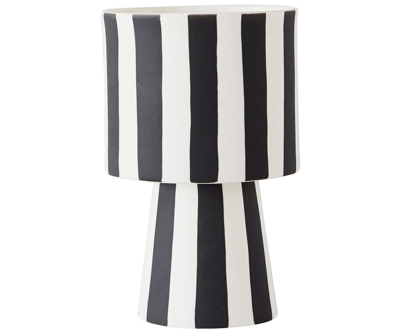 Handgefertigter Übertopf Toppu, Keramik, Weiß, Schwarz, Ø 10 x H 15 cm