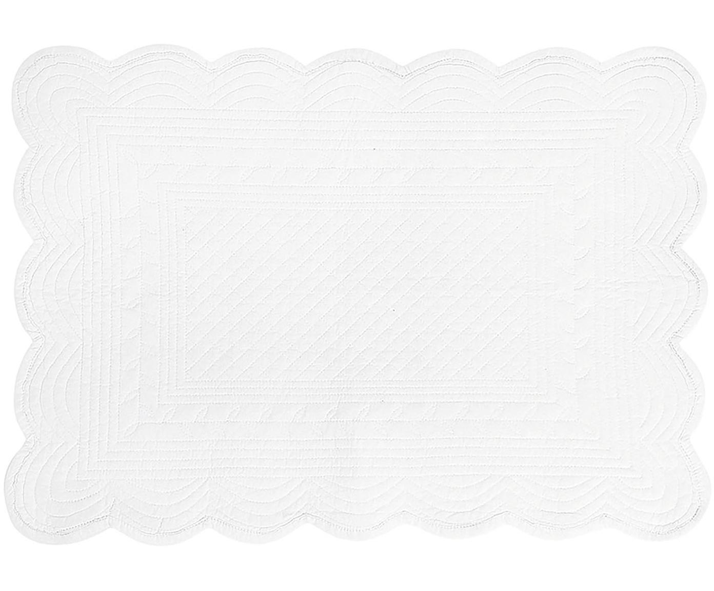 Placemats Boutis, 6 stuks, Katoen, Wit, 34 x 48 cm