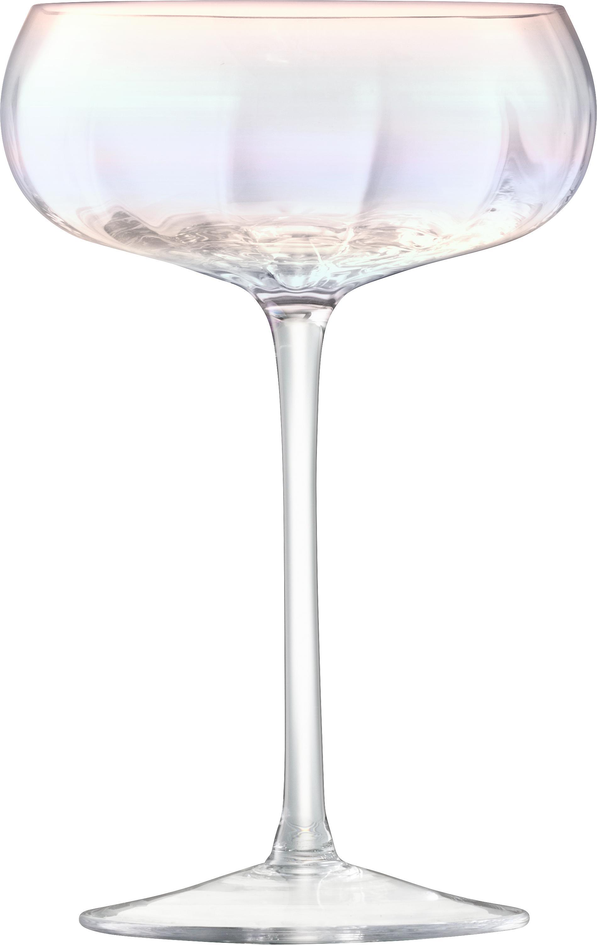 Copas pompadour de champán de vidrio soplado Pearl, 4uds., Vidrio, Brillo perla, Ø 11 x Al 16 cm