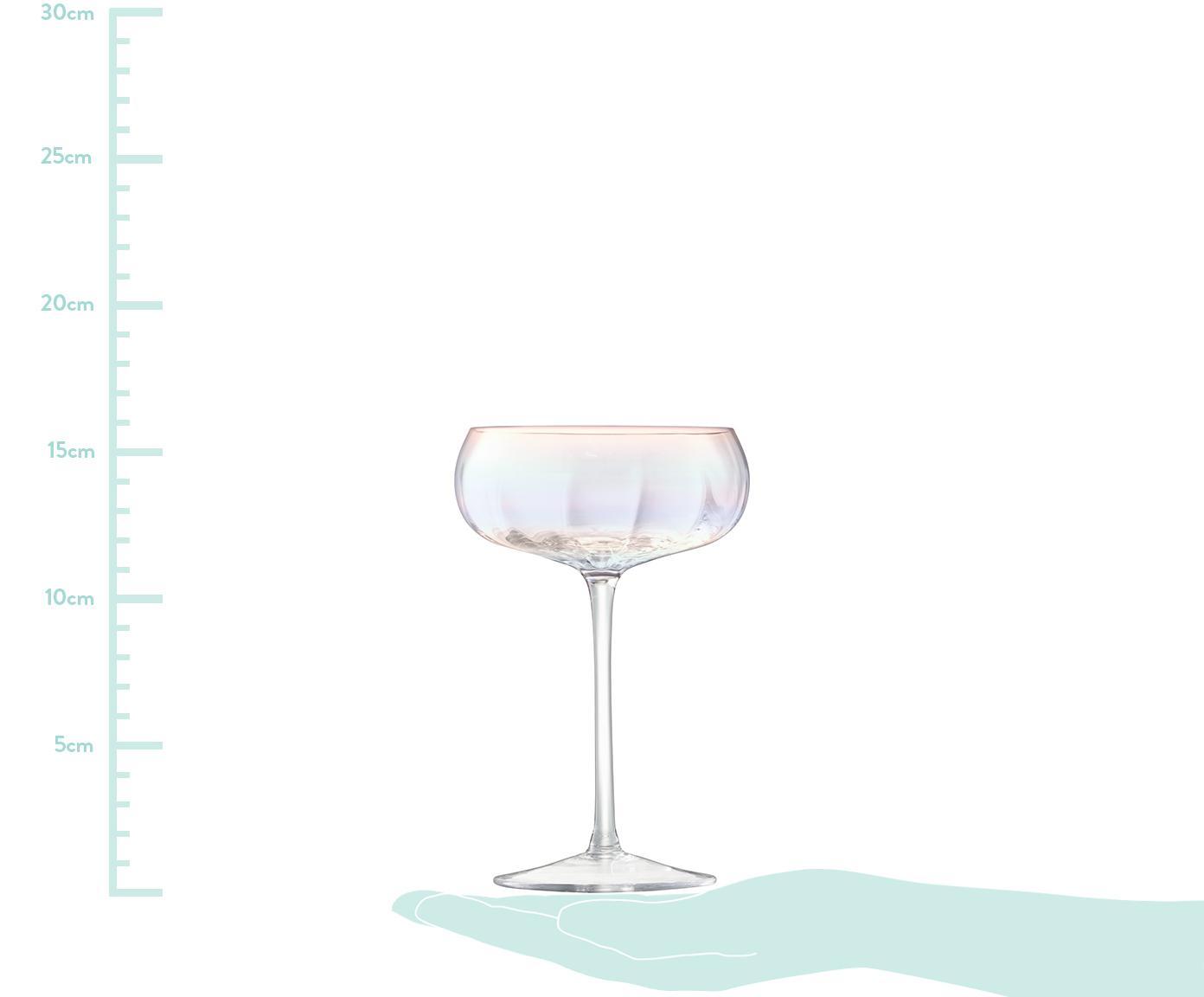 Mundgeblasene Champagnerschalen Pearl mit Perlmuttglanz, 4er-Set, Glas, Perlmutt-Schimmer, Ø 11 x H 16 cm
