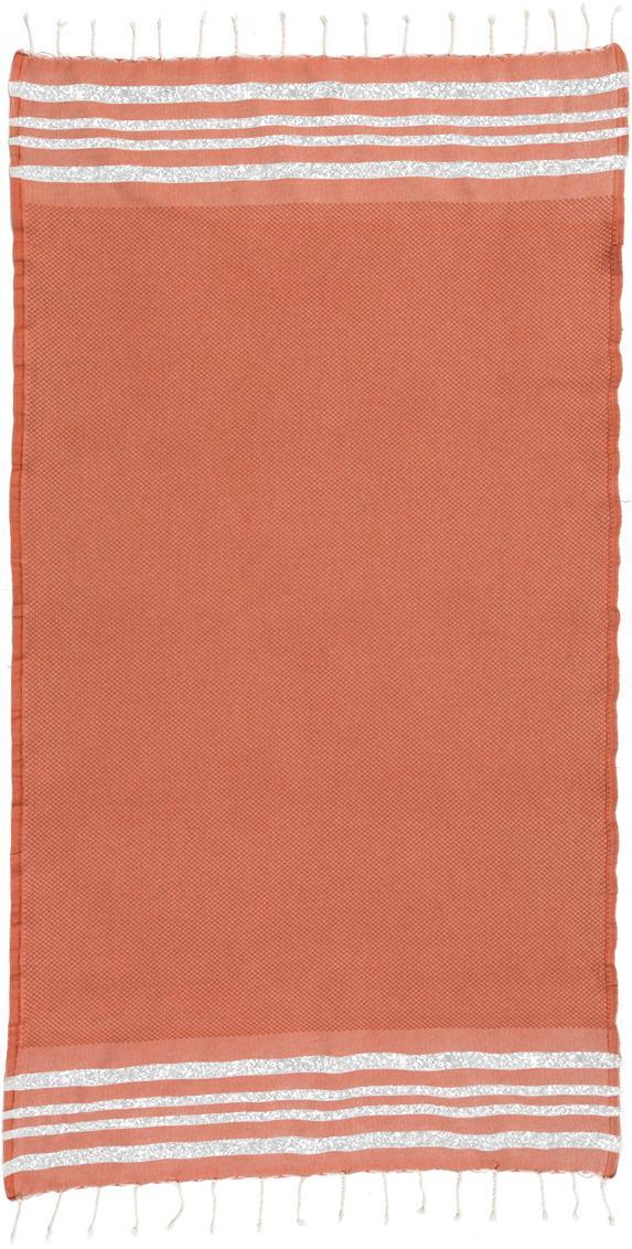 Lurex Hamamtuch Hamptons, Streifen: Lurex, Terrakotta, Silberfarben, 100 x 200 cm