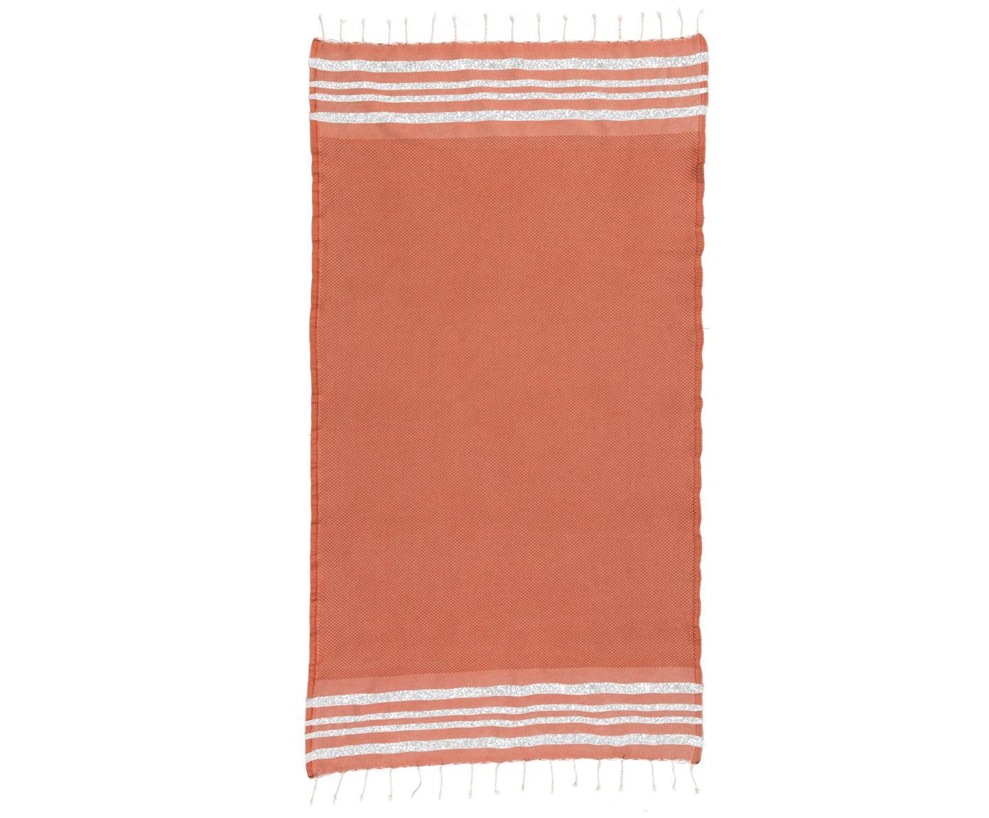 Fouta con tejido lúrex Hamptons, Terracota, plateado, An 100 x L 200 cm