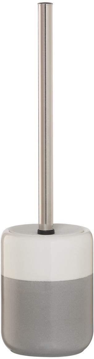 Escobilla de baño Sphere, Recipiente: porcelana, Recipiente: gris claro, blanco Escobilla: acero inoxidable, Ø 10 x Al 38 cm