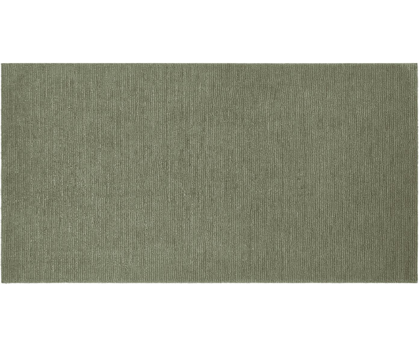 Tappeto Supersoft, Retro: tessuto, Verde muschio, Larg. 80 x Lung. 150 cm (taglia XS)