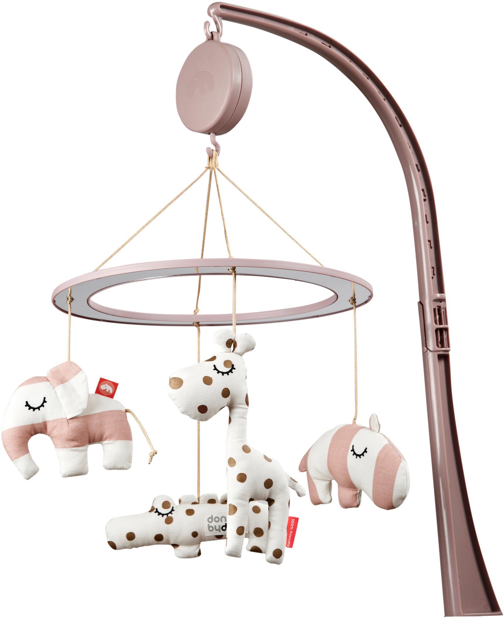 Musik-Mobile Sleepy, Bezug: 100% Baumwolle, Halterung: Metall, Kunststoff (ABS, , Rosa, 34 x 39 cm