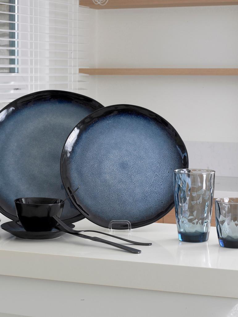 Assiettes plates Sapphire, 3pièces, Bleu, brun-noir