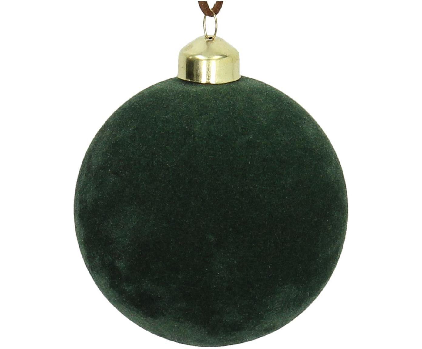 Fluwelen kerstballen Elvien, 4 stuks, Donkergroen, Ø 8 cm
