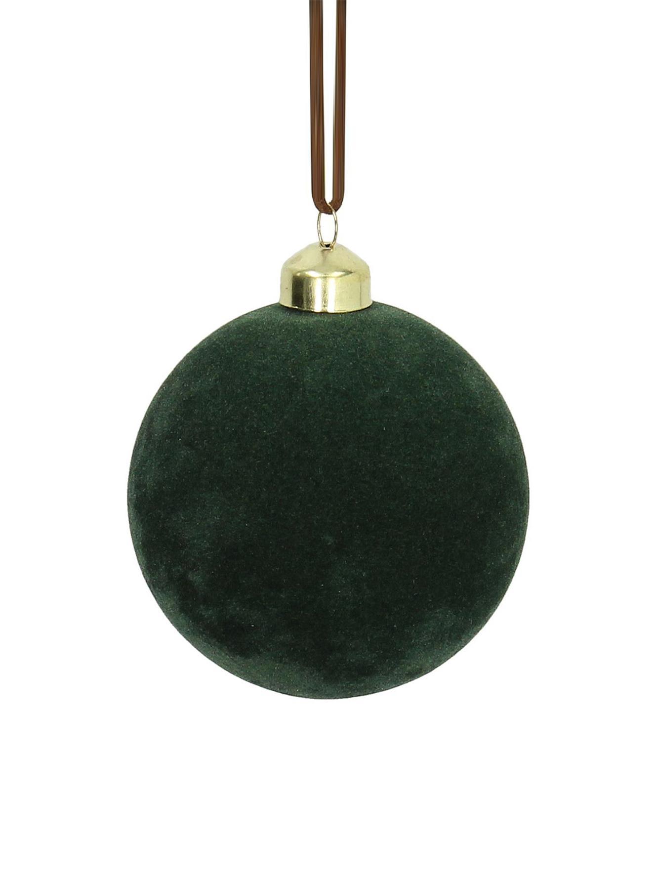 Pallina di Natale in velluto Elvien 4 pz, Verde, Ø 8 cm
