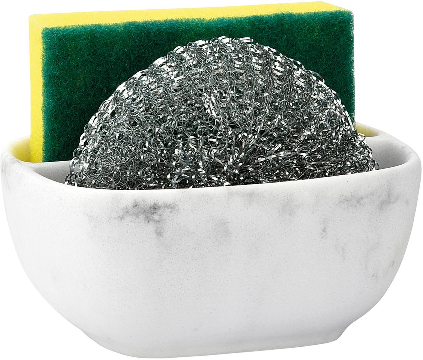 Sponshouderset Galia met marmerlook, 3-delig, Polyresin, metaal, Wit, gemarmerd, zilverkleurig, 10 x 13 cm
