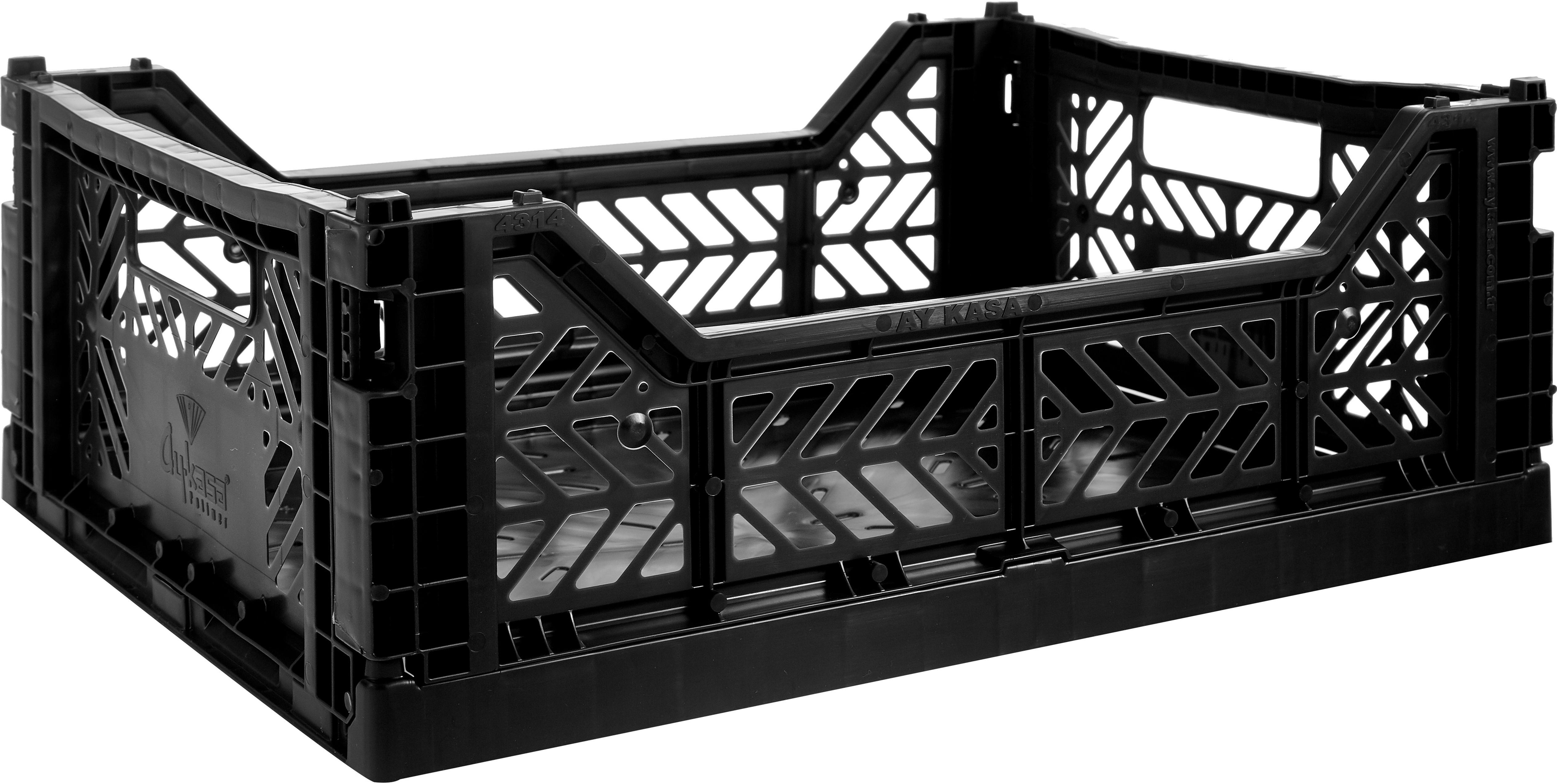 Klappkiste Black, stapelbar, medium, Recycelter Kunststoff, Schwarz, 40 x 14 cm